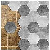 APSOONSELL Adhesif Mural Hexagonal Stickers PVA Imperméable à Motifs Géométriques en Dégradé de Gris Longueur: 11.5cm...