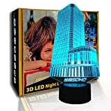 KangYD 3D-Nachtlichtgebäude, LED-Lampe für optische Täuschung, bunte Lampe, F - Bluetooth Audio...
