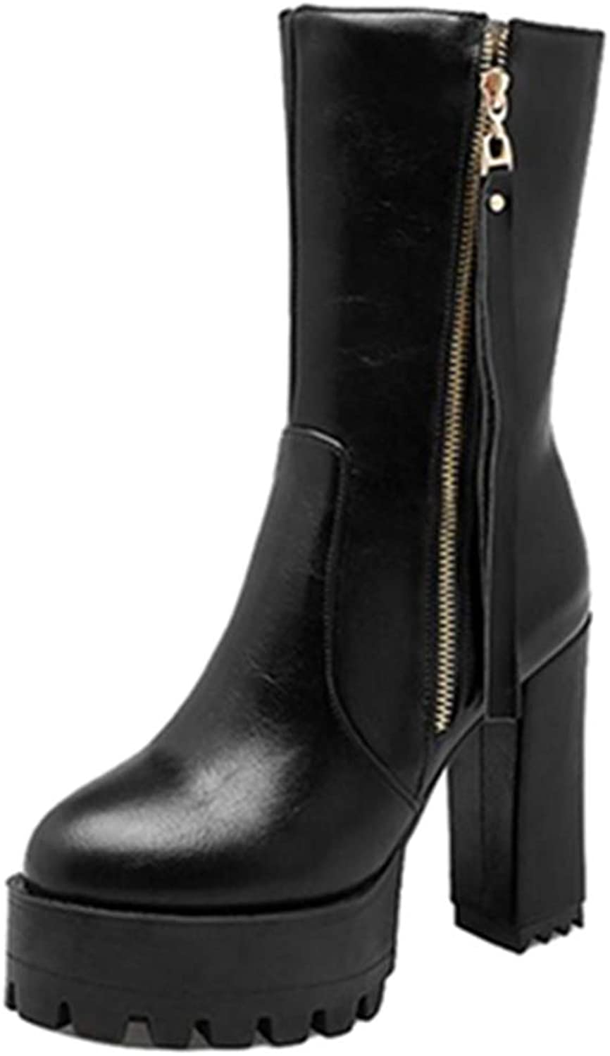 SJJH Women High Heel Martin Mid Calf Boots
