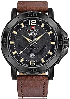 Naviforce NF9122 Men's Watch Leather Strap Calendar Display Male Quartz Watch - Brown