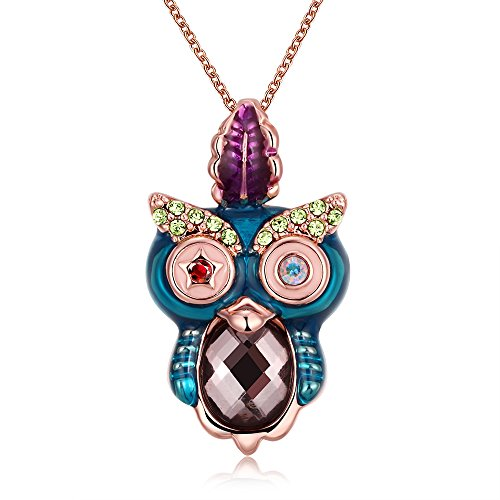 SDLM Rose Gold Refinement Crystal Owl Pendant Necklace Charm Chain Jewelry(r)