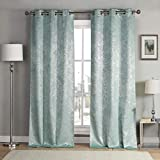 kensie 2 Pack Sparkle Metallic Thermal Insulated Blackout Grommet Top Curtain Panels, W38 X L84, Teal Blue