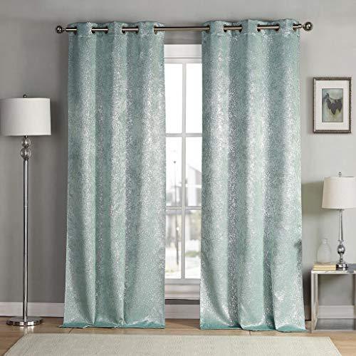 kensie Maddie Silver Metallic Textured Blackout Darkening Grommet Top Window Curtains Pair Drapes for Bedroom, Living Room-Set of 2 Panels, W38 X L84, Teal Blue