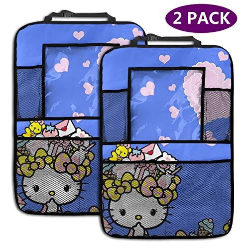 TBLHM Summer Hello Kitty Lot de 2 organiseurs pour siège arrière de Voiture avec Support pour Tablette