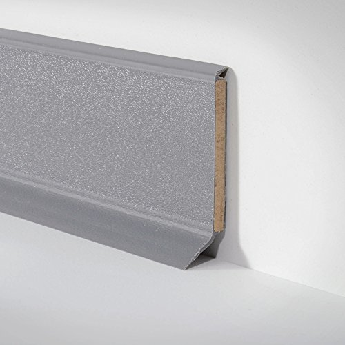 Kunststoff-Leiste Sockelleiste Fussleiste für PVC und Designbelag dunkel grau, 255cm x 60mm