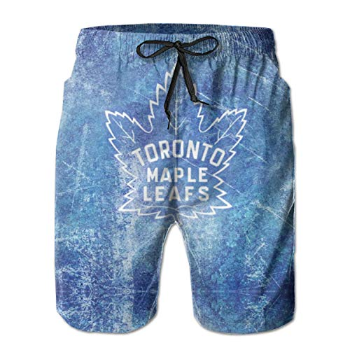 Men's Quick Dry Toronto Maple Leafs Board Shorts 3D Printed Mesh Lining Swim Trunks Elastic Waist Home Shorts Hawaiian Shorts with Pockets for Beach,Vacation,Surfing M