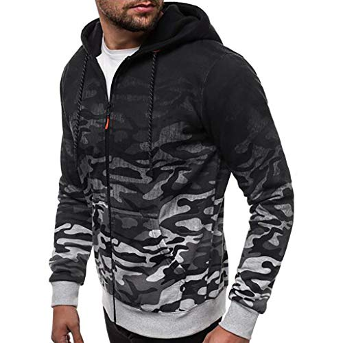 Smoxx Men Hooded Sweatshirts,Camouflage Striped Color Block Drawstring Pullover Hoodies with Kangaroo Pocket