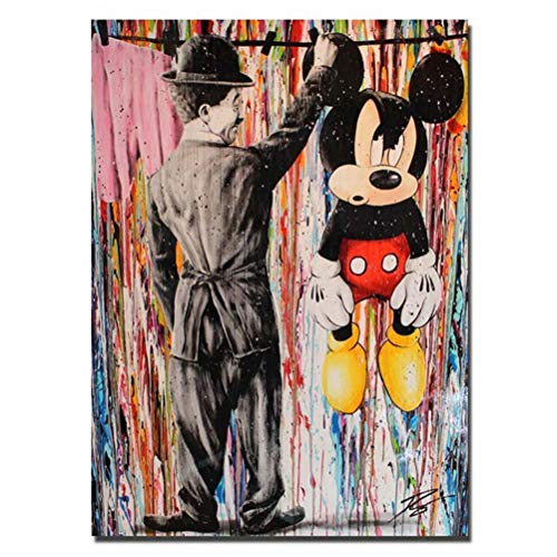 ZSLMX Leinwand Banksy Graffiti-Malerei Moderner bunter Charlie Chaplin mit ikonischen Superman- und Mickey-Maus-Bildern Street Graffiti Art Poster HD Print Wand Wohnkultur, Rahmenlos,Grau,60×90cm