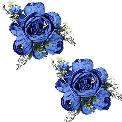 Tifuly 2 Piezas de Ramos de peonía Artificial, Ramo de Flores de imitación de peonías de Seda realistas para la decoración del Banquete de Boda en el hogar, arreglos Florales (Azul)