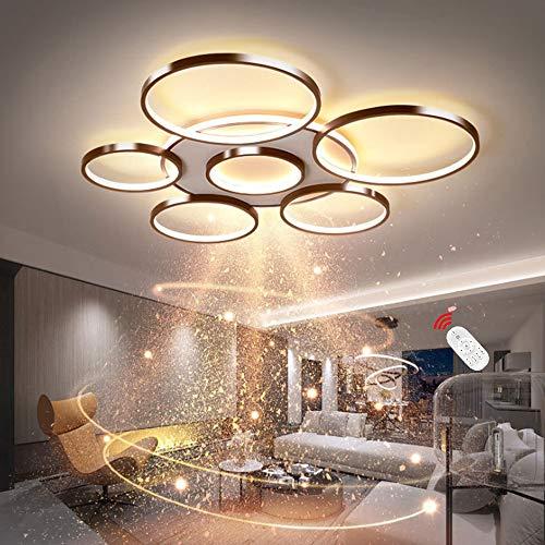 Lámpara de techo LED para salón moderna sencilla redonda de 7 anillas con mando a distancia regulable acrílico decoración de techo moderna para comedor dormitorio oficina salón color marrón