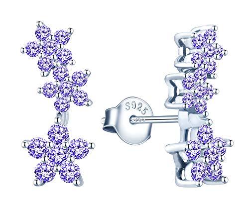 MicVivien Orecchini da donna a forma di fiore in argento 925 con zirconi e Argento, colore: Lilla, cod. MV184-E