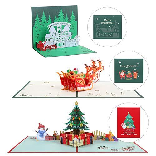 Kesote 3x Weihnachtskarte Pop Up Karte 3D Glückwunschkarte Weihnachten mit Umschläge (Weihnachtsbaum + Weihnachtsmann + Haus)