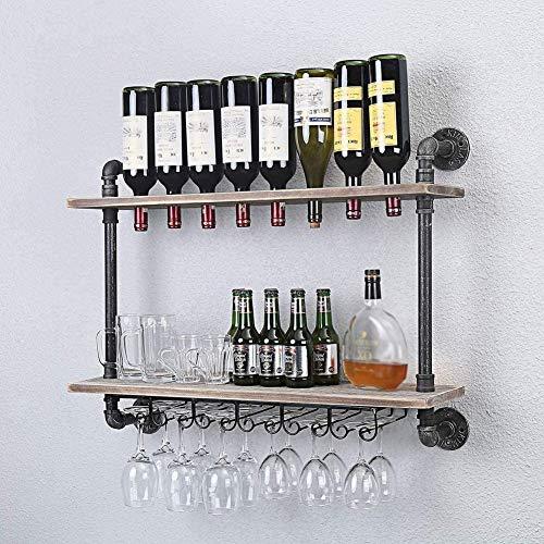Mengyuan Estante De Pared De Estilo Industrial para Vino, 2 Estantes De Madera, Rústico, con Soporte De Vidrio, Colgando, para El Hogar, Sala De Estar, Cocina
