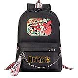 ZZGOO-LL Haikyuu!!Hinata Shoyo/Tobio Kageyama with Chain USB Mochila de Anime Backpack para niños y niñas Adolescentes Unisex Black-G