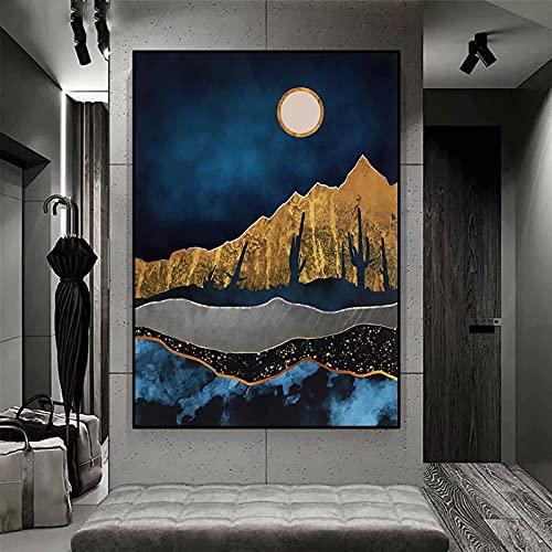 Luna del desierto de medianoche /Kit de pintura de diamante 5D con taladro completo /kits de arte de cristal para adultos y niños regalos /arte decoración de la pared del hogar / Sin marco