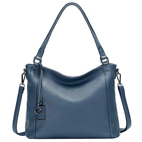 ALTOSY Damen Leder Handtasche Schultertasche Groß Ledertasche Henkeltaschen Umhängetasche (A60301, Indigo Blau)