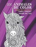 100 animales de color - Libro de colorear - Gazella, zarigüeya, conejito, oso y más