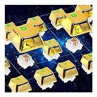 メタリック電着黄金色104キー87キー81キーのバックライト付きメカニカルキーボードPBT 2色ダブルショット 互換用キートップ