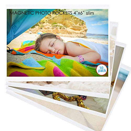 10 Pack 4'x6' Premium Super Slim Magnetic Picture Pockets Frames Holds 4 x 6 inches Photo for Refrigerator Frameless Design by M.Memo