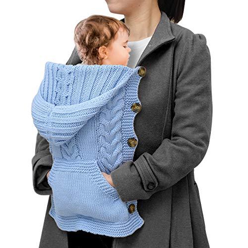 Hinzonek Neugeborener Strickumhang Kapuzenmantel Winter Warmer Fenstersicherer Trägerschlafsack für Reisen im Freien