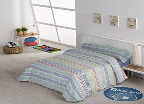 Nordische Bettwäsche Bettbezug bestehend aus 3-teilig Bettwäsche + Spannbetttuch + Kissenbezug. Verschiedene Modelle und Farben–alle Maßnahmen–Bettwäsche Mod. VITO. Modern Cama de 150cm Bläulich