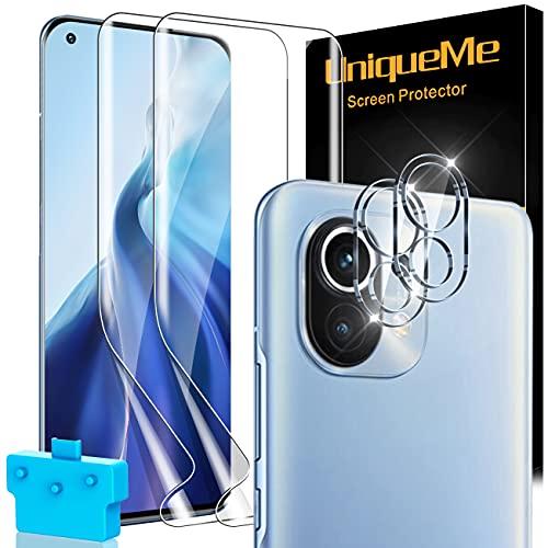 [2+2 Stück] UnqiueMe 2 Stück Schutzfolie für Xiaomi Mi 11 4G/5G Folie & 2 Stück Panzerglas Kameraschutz, Soft TPU Bildschirmfolie für Xiaomi Mi 11 Bildschirmschutz,[Anti- Kratzer],[Blasenfrei],[HD-Klar]