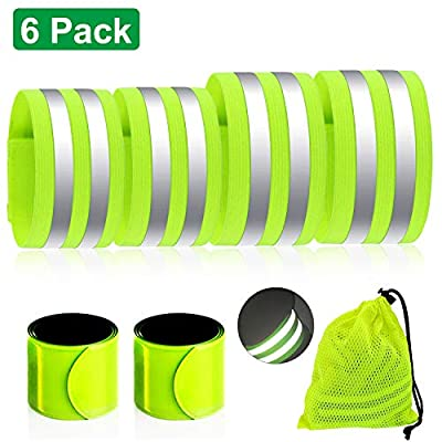 Blaburia 6 PCS Reflective Bands High Visibility Reflective Gear Safety Reflector Tape Straps Double Large Reflective Surface Area for Man Women Walking Night Running