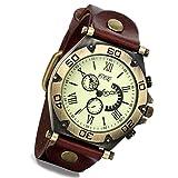 Lancardo orologio da polso con cinturino in pelle marrone con quadrante numeri romani per uomo...
