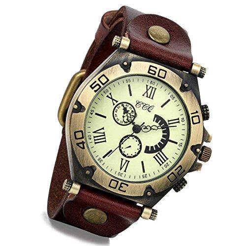 Lancardo Reloj unisex retro vintage de bronce caja de cuero marrón Wris de cuarzo