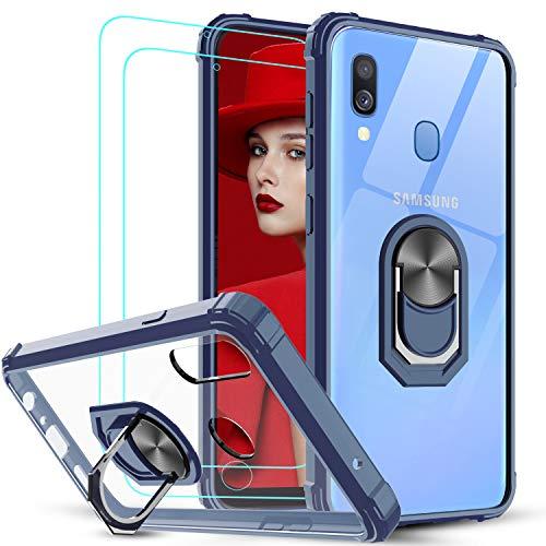 LeYi Funda Samsung Galaxy A40 con [2-Unidades] Cristal Vidrio Templado,Transparente Carcasa con 360 Grados iman Soporte Silicona Bumper Antigolpes Armor Case para Movil A40,Clear Azul