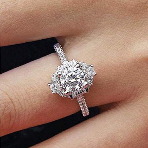 Wenbin Fashion Ring Cushion Cut 4ct 5A Zircon Stone 925 Sterling Silver Engagement Wedding Band Ring White Topaz Cubic Zirconia CZ Solitaire Engagement Ring Size 6-10 (Size 7)