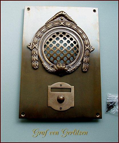 Graf von Gerlitzen Antik Messing Tür Klingel 1 Gründerzeit Türklingel Klingelschild Klingelplatte Tür Sprechanlage Speek-1A