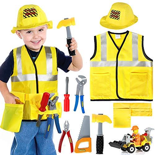 Tacobear Bauarbeiter Kostüm Kinder Handwerker Kinderkostüm Rollenspiel Set mit Spielwerkzeug...