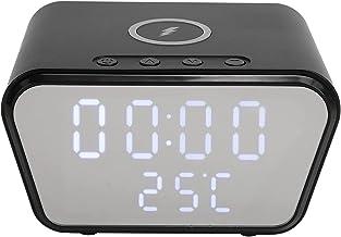 Väckarklocka med 10W Trådlös Laddning - Klar Digital LED-display med Temperaturvisning för Sovrumssängkontor(svart)