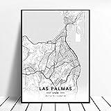 lubenwei Puerto De La Cruz Sabadell Las Palmas Seville Almeria Zaragoza Spain Map Poster 50x70cm Sin Marco AQ-715