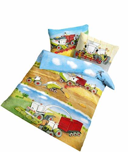 Träumschön Claas Traktor Bettwäsche 100 x 135 | Claas Mähdrescher Bettwäsche für alle Traktor Bettwäsche Claas Fans | Trecker Bettwäsche Kinder aus 100% Baumwolle