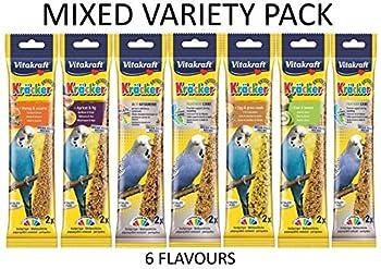 Vitakraft Kräcker Assortiment de friandises à base de graines pour perruches - 7saveurs - 14bâtonnets (7sachets de 2bâtonnets) - 65g