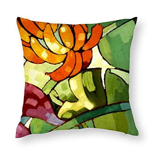 WH-CLA Funda de almohada con diseño de flores hawaianas para sofá, decoración del hogar, 45 x 45 cm, colorida con cremallera, para el hogar, oficina, acogedora funda impresa