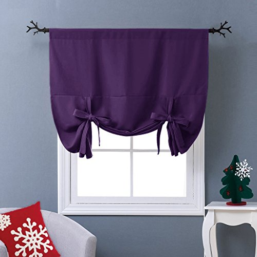 NICETOWN Thermal Insulated Blackout Curtain - Tie Up Shade Drape for Narrow Window (Royal Purple, Rod Pocket Panel, 46 inches W x 63 inches L)