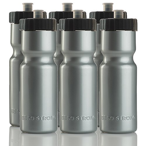 50 Strong Sports Squeeze Water Bottles - Set of 6 - Team Pack – 22 oz. BPA Free Bottle Easy Open Push/Pull Cap – Made in USA - Multiple Colors Available (Silver/Black)
