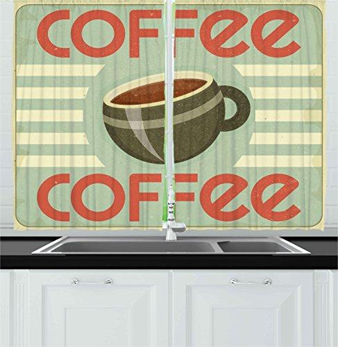 Ambesonne Coffee Kitchen Curtains, Retro Style Cover for Coffee Menu Restaurant Kitchen Vintage Design Artwork, Window Drapes 2 Panel Set for Kitchen Cafe Decor, 55' X 39', Beige Brown