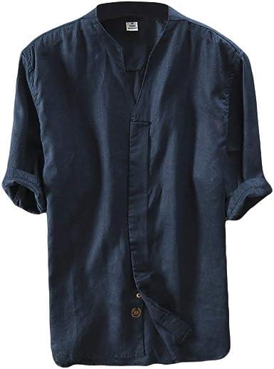 Camisa de Lino Hombre Manga Corta Casual T-Shirt Camisas de Verano con Cuello V Casual y Fresca Blusa Superior de Yoga
