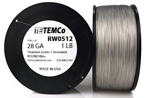 TEMCo Titanium Wire 28 Gauge Surgical Grade 1 Resistance AWG ga