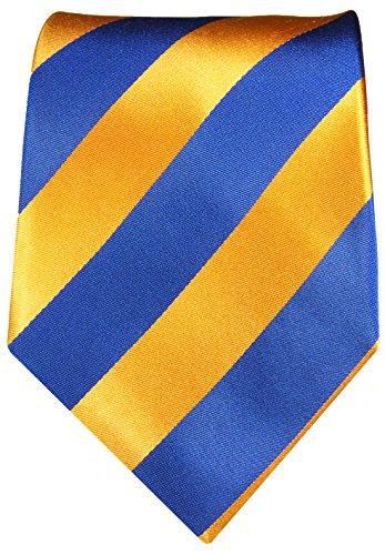 Cravate homme bleu orange rayée 100% soie