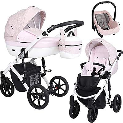 Kunert cochecito de bebé LAVADO silla de paseo silla de coche asiento de bebé juego completo 3 en1 (Jacquard con rosa, Color del marco: Blanco, 3en1)