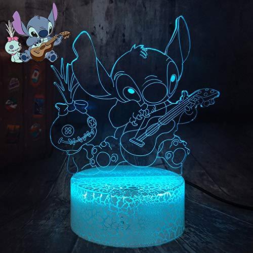 Nachtlicht Lilo und Stitch Gitarre mit Scrump Optische Lampe 3D Anime für Kinder Fernbedienung 7 Farben Crack Basis Deko Schlafzimmer Gute Weihnachten (Crack Guitar Stitch)