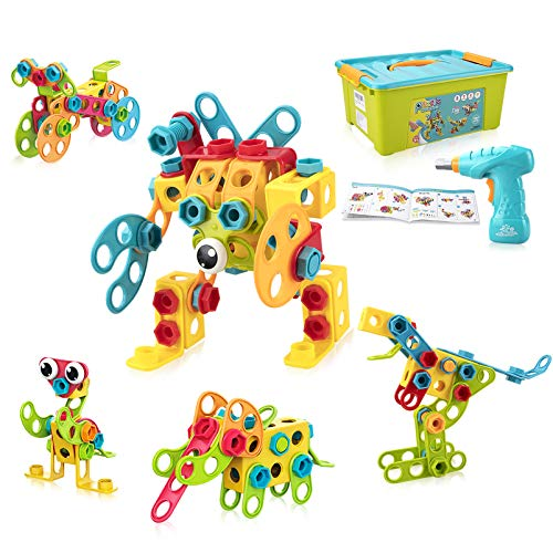 Tinker Toys Building Toys for Kids Ages 4-8 , STEM Toys Kit w/ 191 Pieces, Take Apart Toys for Toddlers with Electric Drill, Reusable Toy Storage Box - Educational Gifts for Boys & Girls