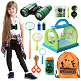 Bug Catcher Butterfly Kit with Binoculars Flashlight Compass Magnifying Glass Butterfly Net Bug Cage, Indoor Outdoor Bug Catching Kit, Kids Toys for Camping Hiking, Gift for 3-12 Year Old Boys&Girls