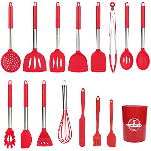 Juego de utensilios de cocina, CestMall 16 utensilios de cocina de silicona, antiadherentes, resistentes al calor, con cesta de almacenamiento y soporte de acero inoxidable
