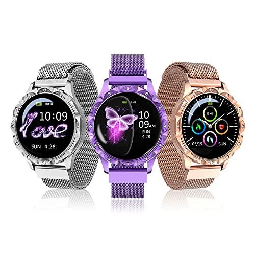 Reloj inteligente, rastreador de actividad física para mujeres, pantalla LCD de 1,04 'Smartwatch IP67, rastreador de actividad a prueba de agua con podómetro, reloj de fitness para Android e iOS,Oro